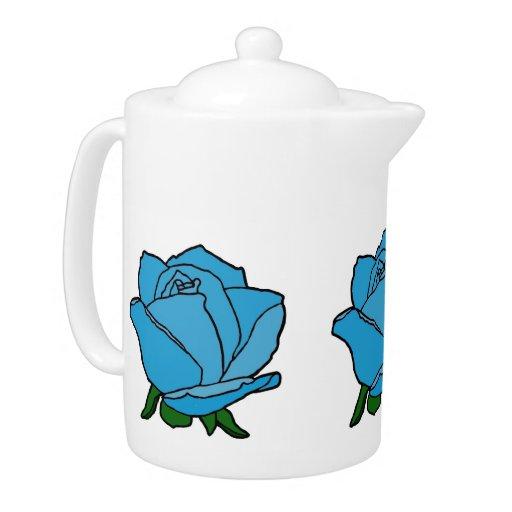 Color de rosa azul en tetera de la floración