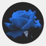 Color de rosa azul etiqueta redonda