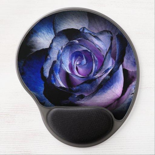 Color de rosa azul - gel Mousepad Alfombrillas Con Gel