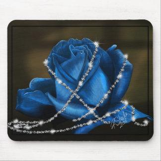 color de rosa azul hermoso y diamantes alfombrillas de ratones