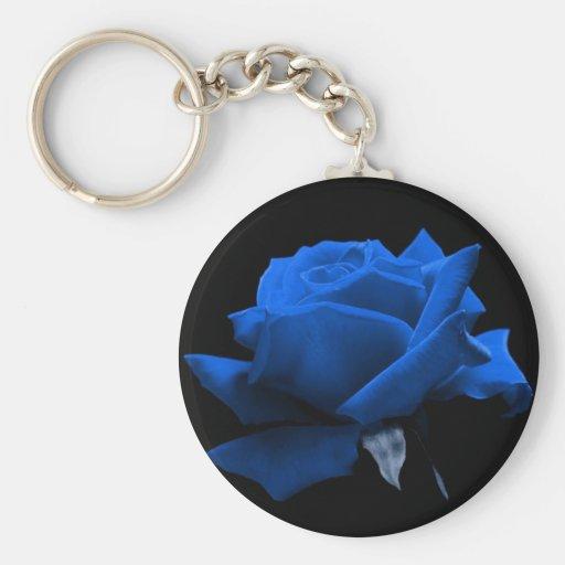 Color de rosa azul llavero redondo tipo pin