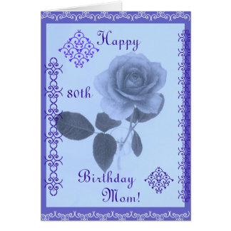 Color de rosa azul: ¡Mamá del feliz cumpleaños! Tarjetas