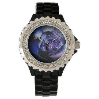 Color de rosa azul marino reloj de mano