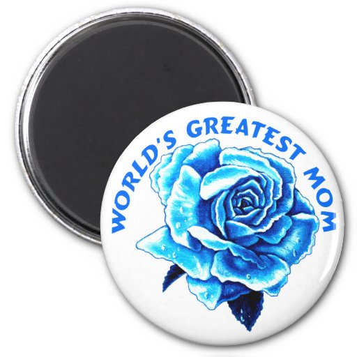 Color de rosa azul para la mamá imán redondo 5 cm