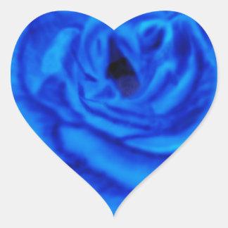 Color de rosa azul pegatina de corazón
