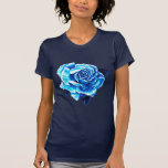 Color de rosa azul pintada camisetas