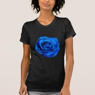 Color de rosa azul pintada con lluvia t-shirts