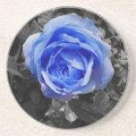 Color de rosa azul posavasos para bebidas