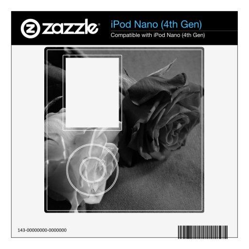 Color de rosa blanco y negro, foto de B&W iPod Nano Calcomanías