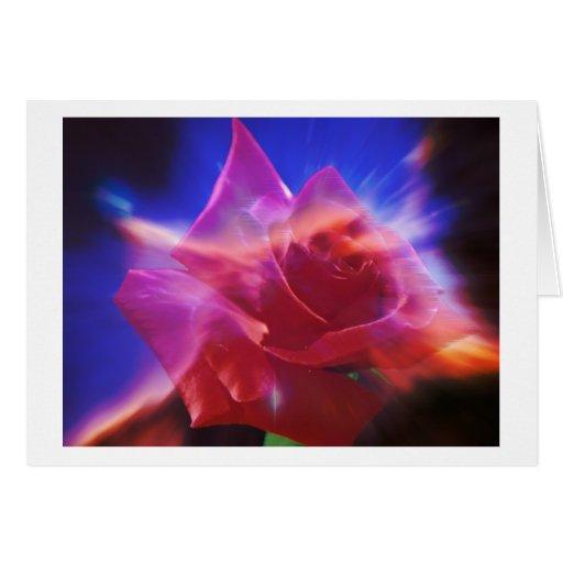 Color de rosa cósmico tarjeta de felicitación