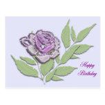 color de rosa de cristal en lila postal