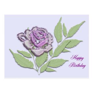 color de rosa de cristal en lila postales