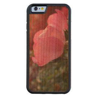 Color de rosa de madera con el caso del resplandor funda de iPhone 6 bumper cerezo