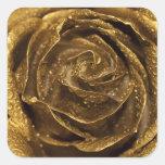 Color de rosa de oro elegante pegatina cuadrada