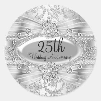 Color de rosa de plata y Jewel al 25to pegatina