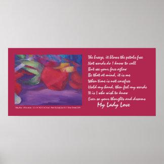 Color de rosa de rubíes con el poema mi señora póster