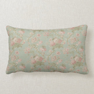 Color de rosa del vintage elegante, verde floral y cojín