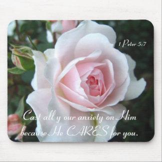 Color de rosa delicado tapete de ratón