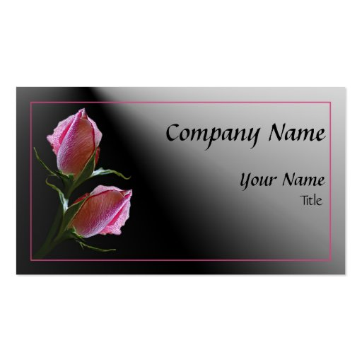 Color de rosa doble en tarjeta de visita negra