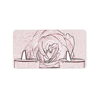 Color de rosa, dos velas ligeras del té, hechas en etiqueta de dirección