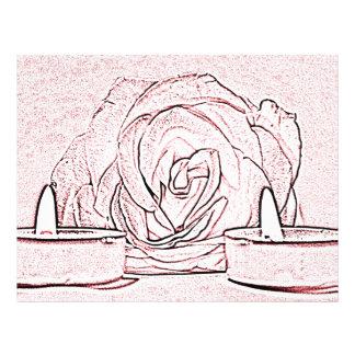 Color de rosa dos velas ligeras del té hechas en tarjetón