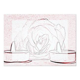 """Color de rosa, dos velas ligeras del té, hechas en invitación 5"""" x 7"""""""