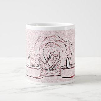 Color de rosa, dos velas ligeras del té, hechas en taza grande