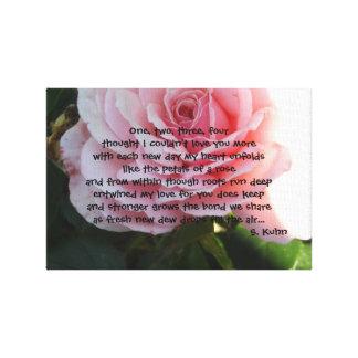 Color de rosa elegante con verso romántico impresion en lona