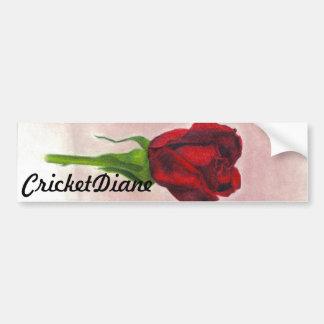 Color de rosa elegante rojo de CricketDiane Etiqueta De Parachoque