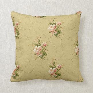 Color de rosa floral del vintage del oro cojín