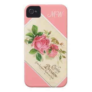 Color de rosa floral rosado del vintage - iPhone 4 Case-Mate iPhone 4 Coberturas