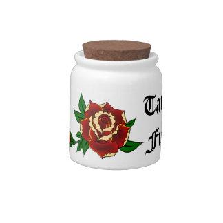 Color de rosa - fondo del tatuaje jarras para caramelos