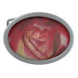 Color de rosa Frambuesa-Afilada Hebillas Cinturón Ovales