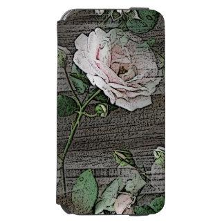 Color de rosa funda billetera para iPhone 6 watson