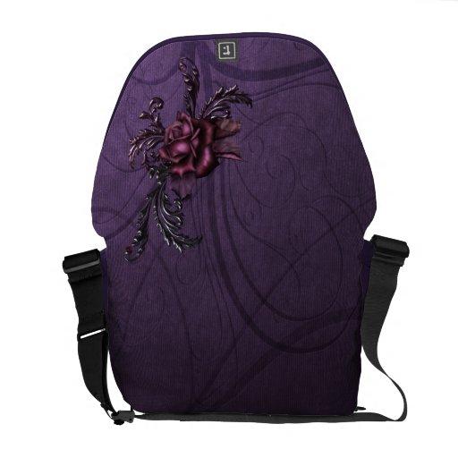 Color de rosa gótico bolsas messenger