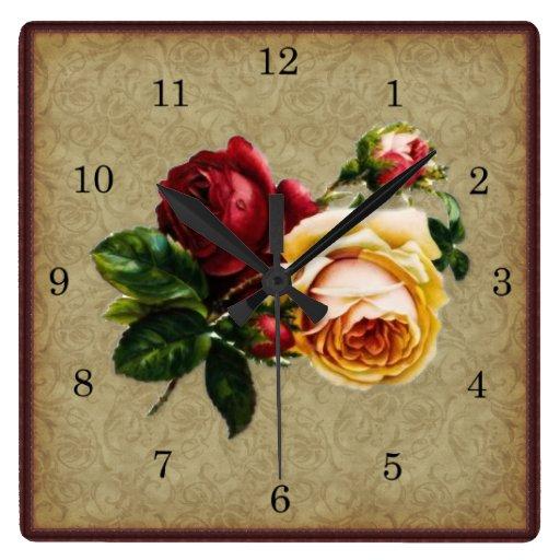 Color de rosa gótico del vintage reloj cuadrado
