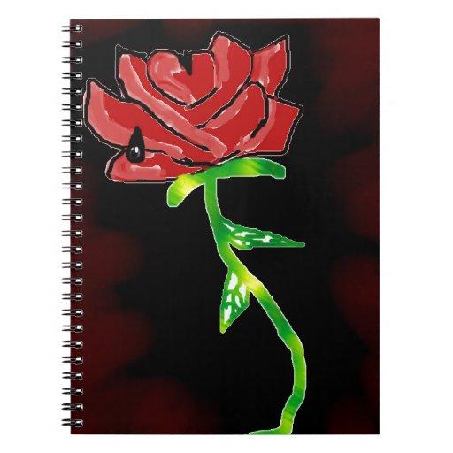 Color de rosa gótico y hermoso libretas espirales