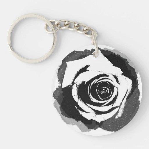 Color de rosa gráfico blanco y negro llavero redondo acrílico a doble cara