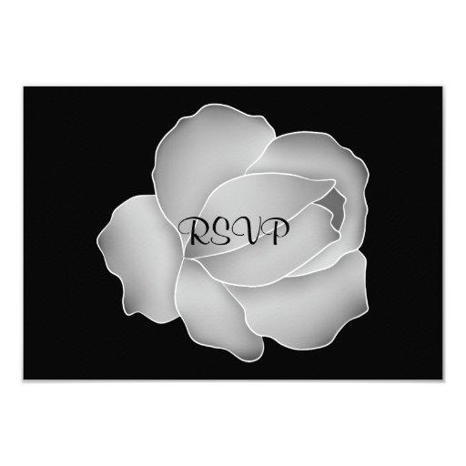 Color de rosa gris pálido bonito en negro invitación 8,9 x 12,7 cm