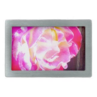 Color de rosa hebillas cinturón rectangulares