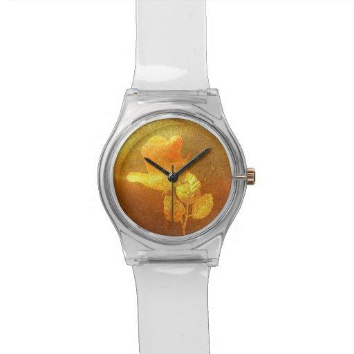 Color de rosa impresa romántico del oro del papel  reloj de mano