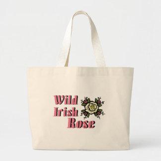 Color de rosa irlandés salvaje bolsa de tela grande