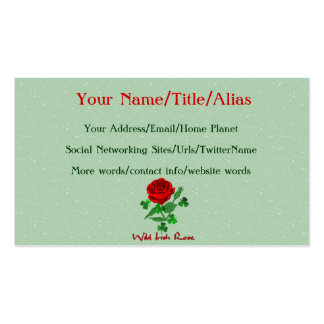 Color de rosa irlandés salvaje plantilla de tarjeta de visita