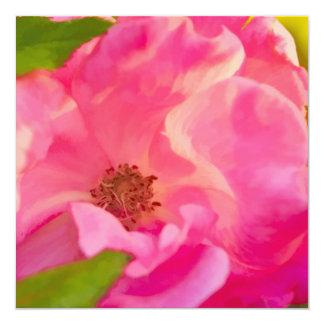 """Color de rosa Knockout rosado abstracto Painterly Invitación 5.25"""" X 5.25"""""""