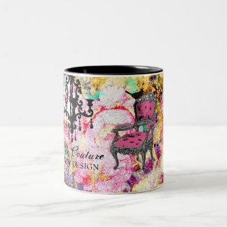 Color de rosa lamentable fabulosamente francés de taza de café de dos colores