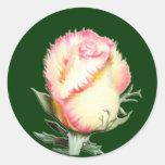 Color de rosa llameante pegatina redonda