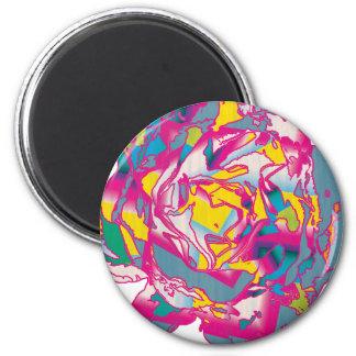 Color de rosa loco imán redondo 5 cm