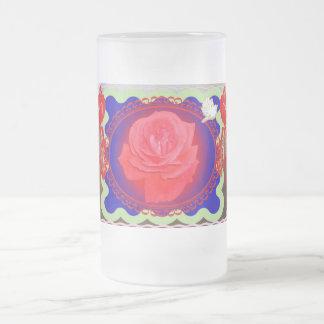 Color de rosa mágico taza de cristal