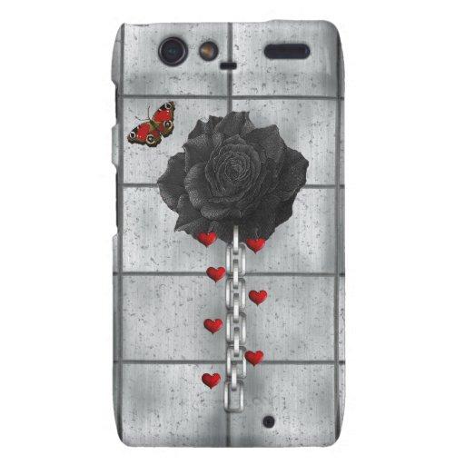 Color de rosa negro del amor droid RAZR funda