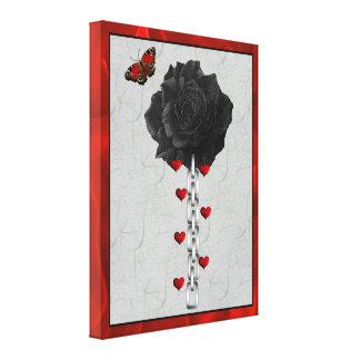 Color de rosa negro del amor impresiones en lienzo estiradas